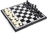 Juego de ajedrez portátil Juegos de ajedrez Juego de ajedrez piezas de ajedrez + Negro y negro plegable magnético y portátil para adultos, niños y estudiantes regalos de ajedrez Ajedrez de madera con