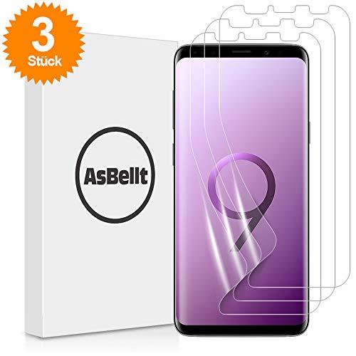 AsBellt Galaxy S9 Plus Schutzfolie[3 Stück], (Blasenfreie anzubringen)(TPU Folie, Nicht Glasfolie) HD-Klar (nicht S9 Schutzfolie) für Samsung Galaxy S9+/Plus Schutzfolie