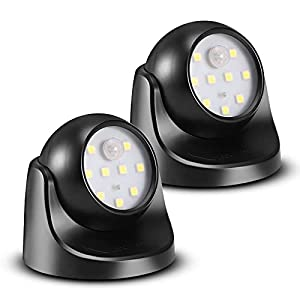 ProGreen 6000K Waterproof Wireless Battery Powered LED Wall Light Fixture with Motion Sensor - Auto On/Off(2 Pack)
