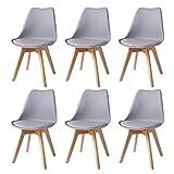 6 set,Sedia da pranzo in stile nordico,Sedie con gambe e cuscini in legno di faggio, utilizzate in sale da pranzo, soggiorni, uffici e altri luoghi (grigio)