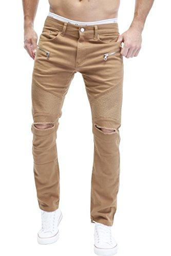 MERISH Herren Bikerjeans Jeanshose Denim Chino DestroyedTrend Usedlook Jeans Hose Neu J67 Braun W36