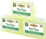 Glamorous Hub Khadi India - Jabón de baño corporal de árbol de té de glicerina hecho a mano a base de hierbas, paquete de 3 × 125 g. (El embalaje puede variar)