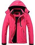 Pooluly Women's Ski Jacket Warm Winter Waterproof Windbreaker Hooded Raincoat Snowboarding Jackets Rose Red