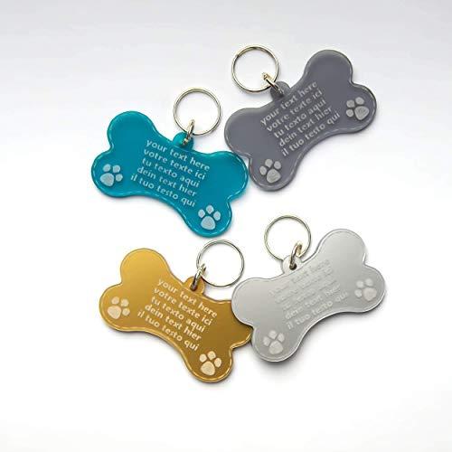 Chapa Placa En Forma de Hueso Identificativa para Perros, Gatos, Mascotas, Grabado del Nombre y Teléfono | Lujo