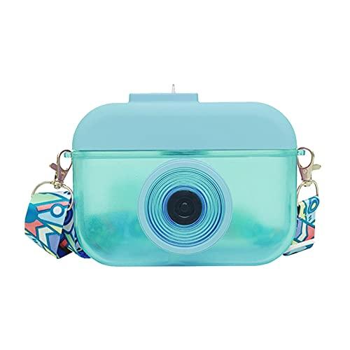 AIHOME Botella de agua para cámara, 400 ml con pajitas, creativa con correa ajustable para el hombro, jarra de agua transparente