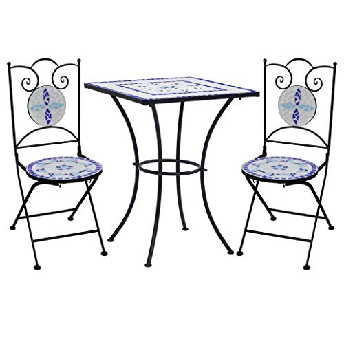 Irfora 3 Piece Mosaic Bistro Set Garden Patio Furniture Cafe Bistro Chairs and Table Set Ceramic Tile Blue and White