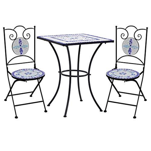 Goliraya Mesa y Sillas de Bistró 3 Piezas con Mosaico Cerámica Juego de Mesa y Sillas para Jardín Patio 1 Mesa 60 x 60 x 76 cm y 2 Sillas 37 x 44 x 89 cm Azul y Blanco