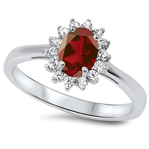 925 Sterling Silver Faceted Natural Genuine Red Ruby Oval Flower Halo Ring Size 4