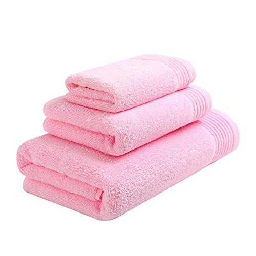 Toallas Baño Pack de 3 Toallas de Baño de Fundido Paños Toallitas Resistentes de Algodón Suave Toallas Secas Rápida Yoga Playa Deportes Toalla Microfibra (Color : Pink)