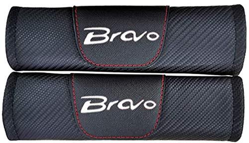 YFBB 2Pcs Car Carbon Fibra Almohadillas Cinturón Seguridad, para Fiat Bravo Ajustable Adecuada Adultos Niños Comfort Protection, Auto Seat Belt Shoulder Estilo Accesorios