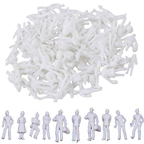 BESTZY 100pcs Modell Figuren Menschen Weiß Unbemalt 1:75 für Modellbau Spur HO Modelleisenbahn
