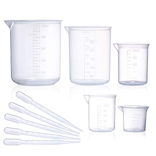 Plastic Beaker Set, 5 Sizes Low Form Measuring Graduated Griffin Polypropylene Beakers in 500 ml, 250 ml, 100 ml, 50 ml, 25 ml for Laboratory, & Science Experiments with 5 Plastic Droppers in 3 ml