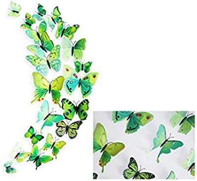 Pindia Decorative Beautiful Diy 3D Butterfly Removable Pvc Wall Sticker ,Green Color (Random Design), Set Of 12 Pc