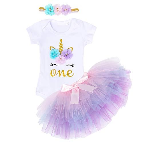 Jurebecia Falda de Tutú para Bebés de Princesa Vestido de Tul Boda Fiesta Partido Disfraz para Infantiles Niña Vestido de Encaje de Flores 0-2 Años