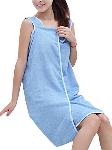 Azrte(アズルテ) 着る バスタオル 巻きタオル ルームウェア バスローブ ずり落ちない お風呂 ブルー