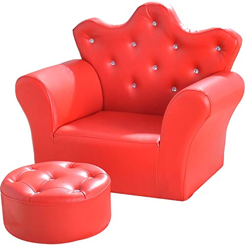 Ahorro de espacio, cálido y versátil Rosado encantador de los niños de la princesa Corona Sofá, Sofá Set de Mini Trono niños con otomana, suave piel de PVC cómodo sofá silla, decoración dormitorio de
