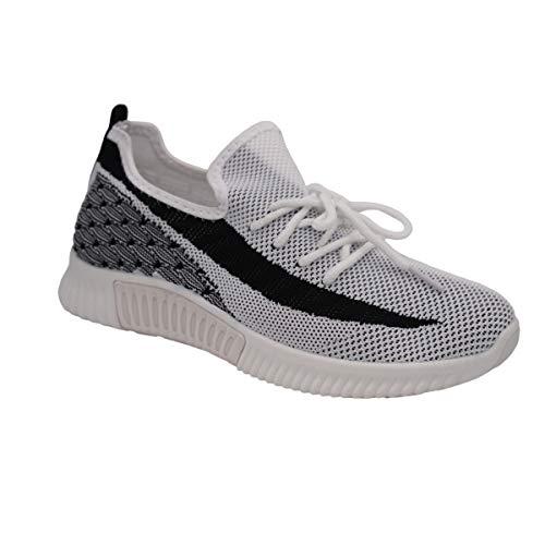 CucuFashion - Zapatillas de malla livianas para mujer, zapatos de running cómodos, para uso diario, para mujer, color Blanco, talla 40 EU