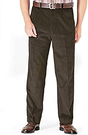 Mens HIGH-Rise Trousers Luxury Cotton Corduroy Size