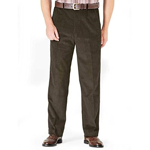 a9ffee4af7f Mens Luxury Cotton High Rise Corduroy Adjustable Pleated Trouser Pants