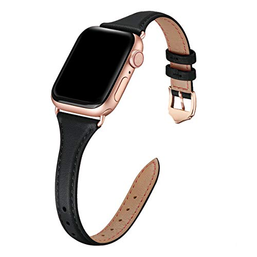 WFEAGL Compatibile con Cinturino Apple Watch 38mm 40mm 42mm 44mm, Multicolore Ultrasottile Pelle Cambiamento Cinturini Compatibile con iWatch Serie 5/4/3/2/1(38mm 40mm,Nero+Adattatore Oro Rosa)