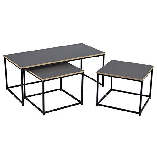 FurnitureR Mesa de centro nido moderna, juego de 3 mesas auxiliares para sala de estar, mesas auxiliares apilables, mesitas de noche resistentes y de fácil montaje, muebles...