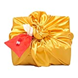 Korean Traditional Gift Wrapping Cloth Silk Fabric Bojagi (Gold, Small) with a Lucky Bag