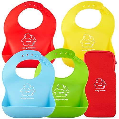 Pack de 4 baberos impermeables de silicona súper suave por Jump Baby® Messy Monster (rojo/verde lima/azul/amarillo). Se limpia con un paño, enrollable, incluye bolsa de transporte para baberos sucios