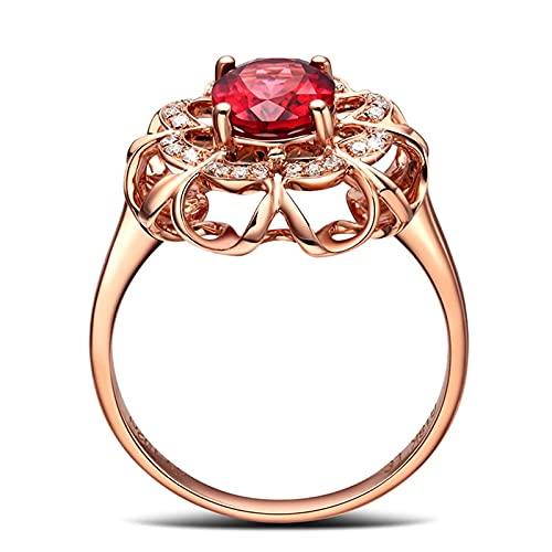 DJMJHG Anillos de Piedras Preciosas de rubí Rojo Ovalado para Mujer, joyería de Plata de Ley 925, Anillo de Boda romántico de Oro Rosa, Nuevo