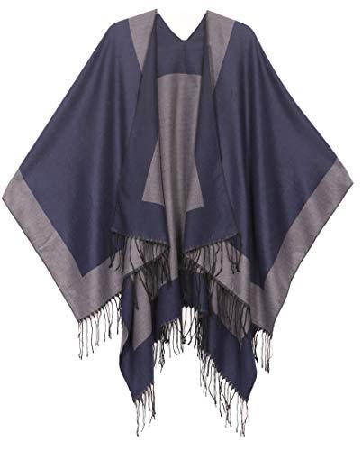 Sakkas 1927 - Avi Womens Poncho-Wolljacke mit offenem Vorderteil Ruana Cape Shawl W/Fringe - Rand Blau - OS