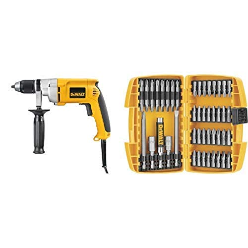 DEWALT DW246 7.8 Amp 1/2-Inch Drill with Keyless Chuck with DEWALT DW2166 45 Piece Screwdriving Set with Tough Case