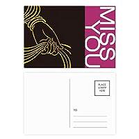 仏教の宗教の手のスカーフ・パターン ポストカードセットサンクスカード郵送側20個ミス