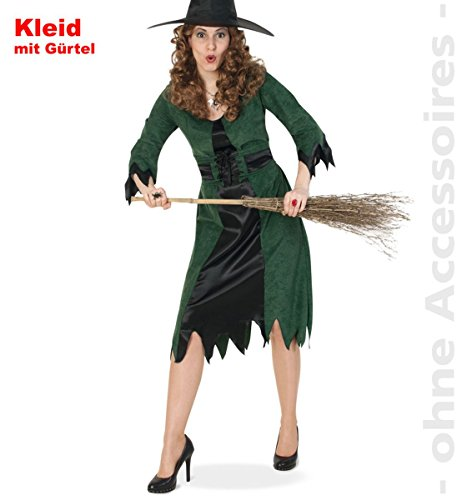 Damen-Kostüm Keid Waldhexe mit Gürtel Gr.38-46