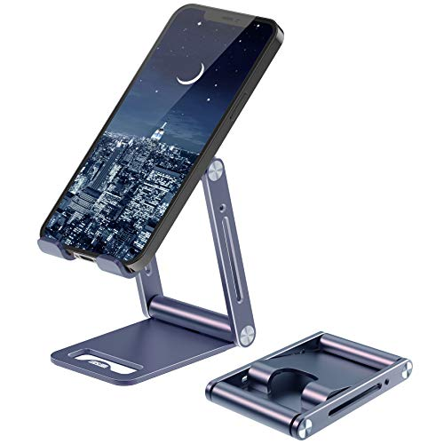 LOOSLOON Cell Phone Stand, Fully Foldable,Angle Adjustable Aluminum Mobile Phone Holder for Desk Fordable Desktop Cradle Dock Compatible with Phone 12 11 Pro 2021 iPad Mini Kindle Tablets (4-11') Grey