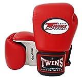 Twins Special–Guantes de boxeo con cierre de velcro en la muñeca piel de vaca rojo y blanco 16oz