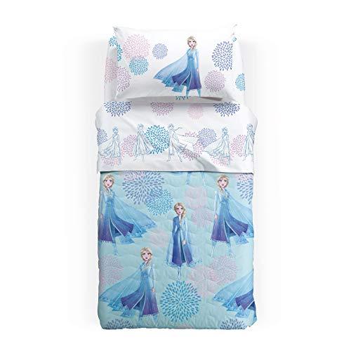Caleffi Tagesdecke für Frühling, Einzelbett, ELSA, Blau, einfarbig, aus Baumwolle, 81775