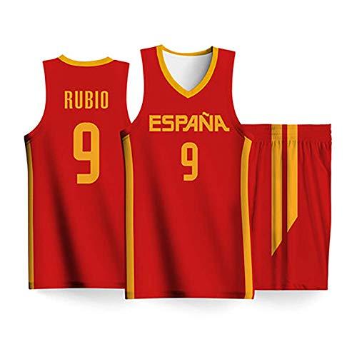 Conjunto Camiseta De Baloncesto para Hombres-2019 Copa del Mundo Selección Nacional España NO.9 Ricky Rubio Fans Tops + Shorts Mangas Transpirable Secado Rápido,Rojo,2XS:160cm/45~55kg