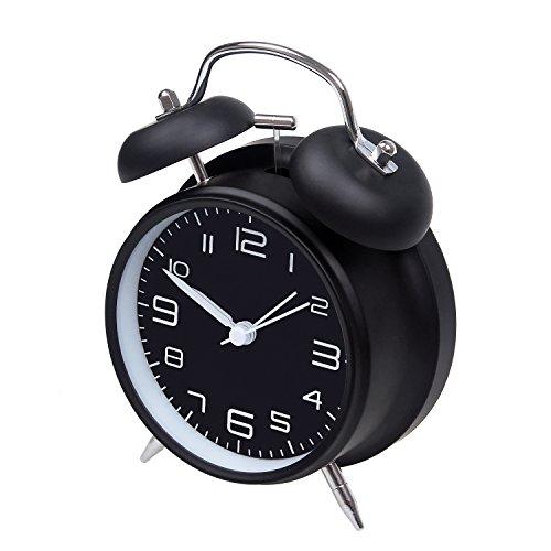 Jiemei, luide wekker met twee klokken, werkt op batterijen, wekker met stereoscopische wijzerplaat, nachtlampje, tikt niet, voor de slaapkamer, 10,2 cm