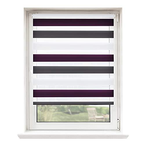 Doppelrollo, Jalousie, Seitenzugrollo Easyfix, Klemmfix ohne Bohren, Sonnen- und Sichtschutz für Fenster und Tür Weiß-Anthrazit-Violett, 80 x 150 cm