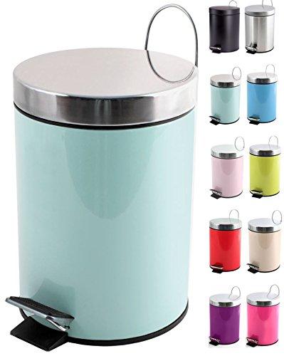 MSV Kosmetikeimer Pastell Grün Mülleimer Treteimer Abfalleimer - 3 Liter – mit herausnehmbaren Inneneimer