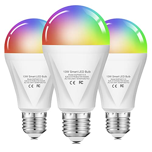 Alexa Smart WiFi Light Bulb, 13W RGBCW Color Changing Led Bulb 120W Equivalent, 2700K-6500K 1300LM Dimmable Multicolor Bulb A19 E26, Compatible with Alexa Echo Google Home, No Hub Required - 3 Pack
