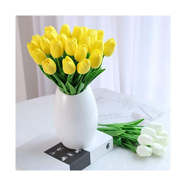 Hawesome 30 Piezas Flor Tulipán Abierto Tulipanes Color Blanco Rojo Amarillo de látex de 33 cm Plantas Flores Plantas…