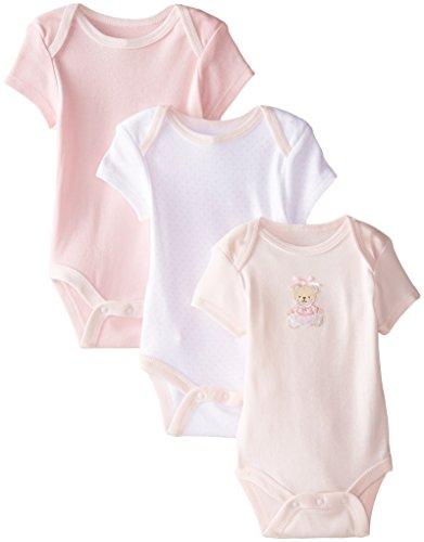 Little Me – Pacote com 3 bodies para meninas, Pink/Multi Bear, Newborn