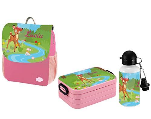 Mein Zwergenland Set 3 Kindergartenrucksack mit Brotdose Maxi und Flasche Happy Knirps Next Print mit Name REH, 3-teilig, Pink