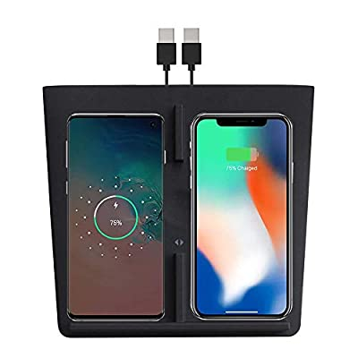 for Tesla Model 3 Wireless Charger Dual Charging Dock, Dual QI Wireless Charging Charger Panel with USB Splitter Cable for Latest Upgraded Tesla Model 3