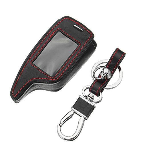 YONGYAO 4 Tasten Zwei-Wege-Auto-Alarmanlage Leder Autoschlüssel Tasche für Magicar 5/6 LCD rot