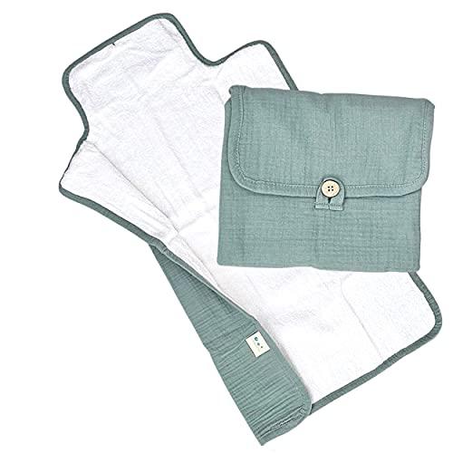 Leobulle - Cambiador portátil de viaje suave de gasa de algodón, plegable y ligera, color verde