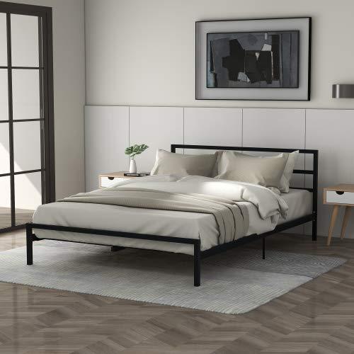 Bett, Bettgestell, Metallbettr jugendbett Einzelbett Single Betten mit Lattenrost Plattformbett für Erwachsene und Kinder Jugendliche Schlafzimmer Gästezimmer,140 x 200 cm (schwarz)