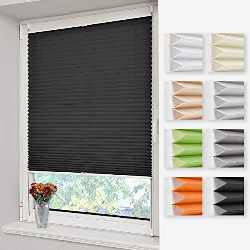 Homland Plissee Klemmfix Rollos für Fenster und Tür ohne Bohren 40x130cm Schwarz Faltrollo Jalousien mit der Klemmträger Lichtdurchlässig und Blickdicht Sicht-und Sonnenschutz