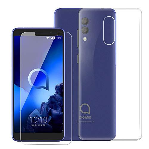 QFSM 1Pcs Transparent Schutzhülle Shell hülle silikon Weich TPU Hülle Für Alcatel 3L 2019 Smartphone + 1 Pack Gehärtetes Glas Panzerglas Folie-Clear