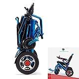 SU Leichter zusammenklappbarer Elektrorollstuhl, langlebiger Rollstuhl, zusammenklappbar, tragbar, mit Fußreflexibilität und einfachem Fahren für zusätzlichen Komfort, blau -